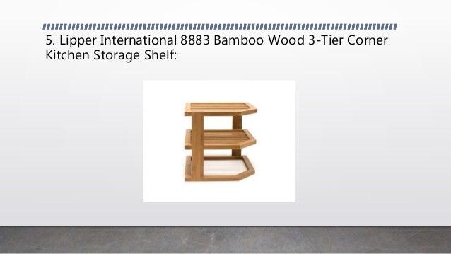 "10/"" x Lipper International 8883 Bamboo Wood 3-Tier Corner Kitchen Storage Shelf"