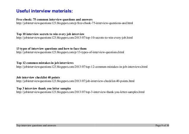 top interview questions and answers page 8 of 10 9
