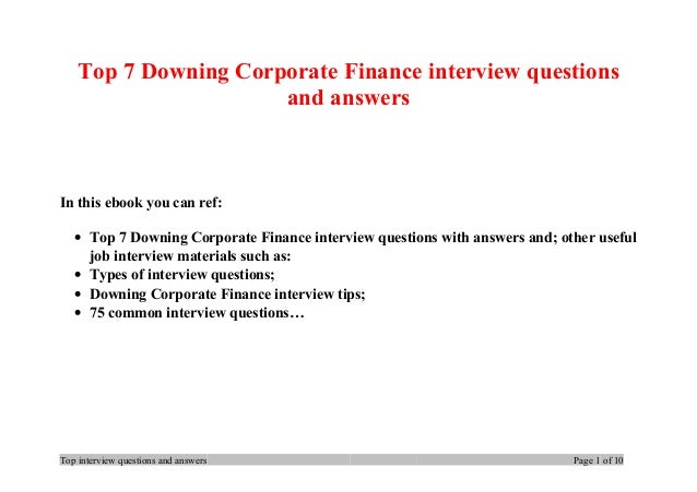 finance interview questions and answers pdf
