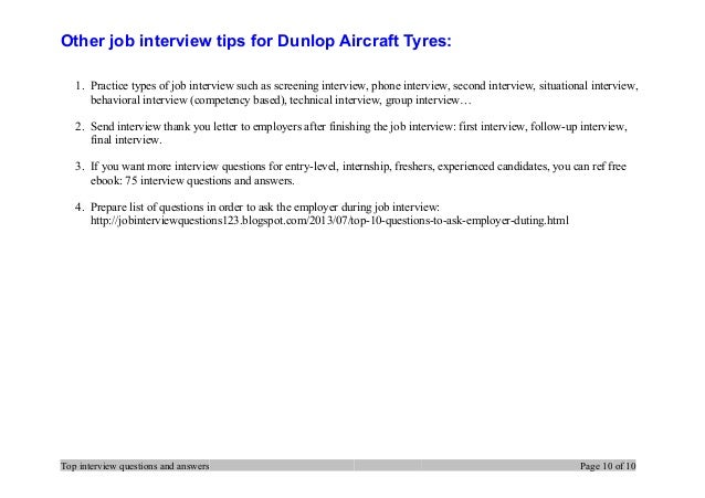 Top 7 Dunlop Aircraft Tyres Interview Questions And Answers
