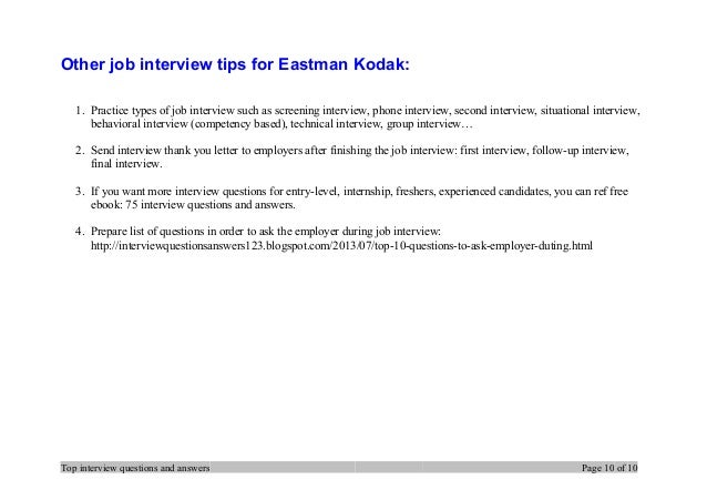Top 7 eastman kodak interview questions and answers