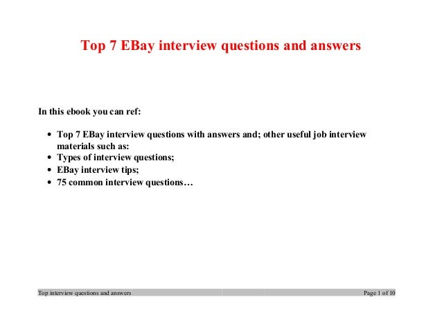 top 7 e bay interview questions and answers