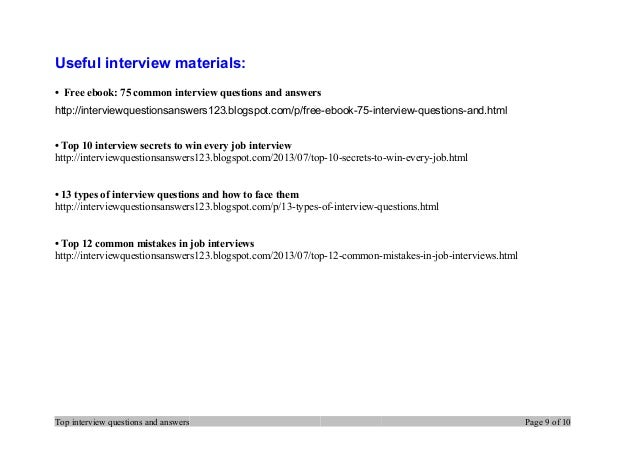 Top Interview Questions And Answers Page 8 Of 10; 9.