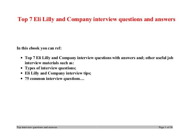 top 7 eli lilly and company interview questions and answers in this ebook you can ref
