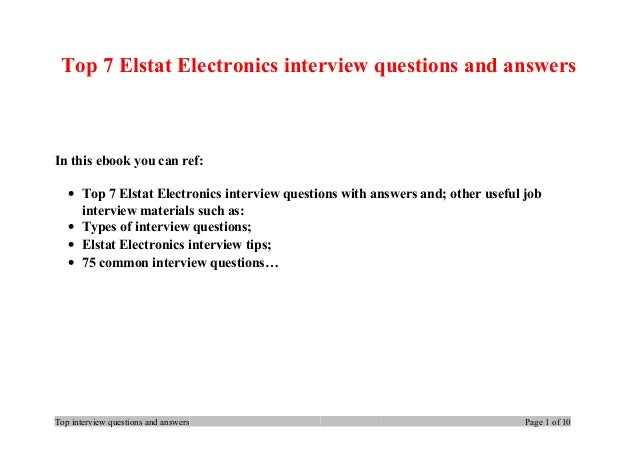 Top 7 Elstat Electronics interview questions and answers In this ebook you can ref: • Top 7 Elstat Electronics interview q...