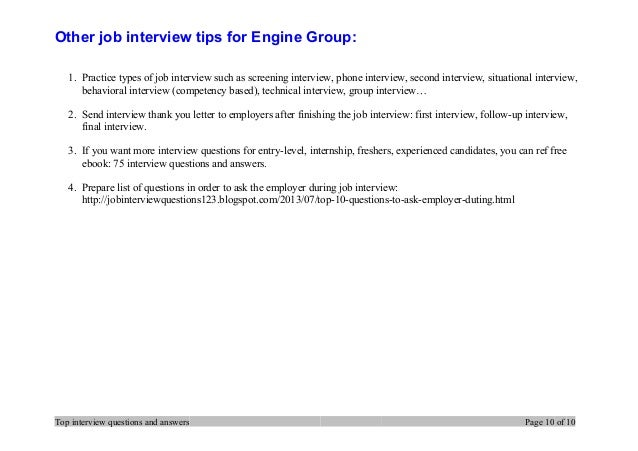 Top 7 engine group interview questions and answers 10 other job interview expocarfo