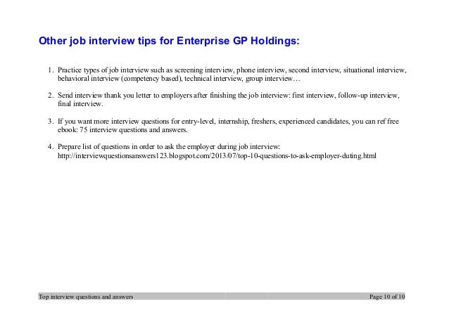 Top  Enterprise Gp Holdings Interview Questions And Answers