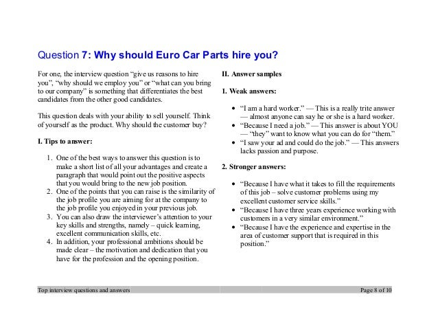 Top 7 Euro Car Parts Interview Questions And Answers