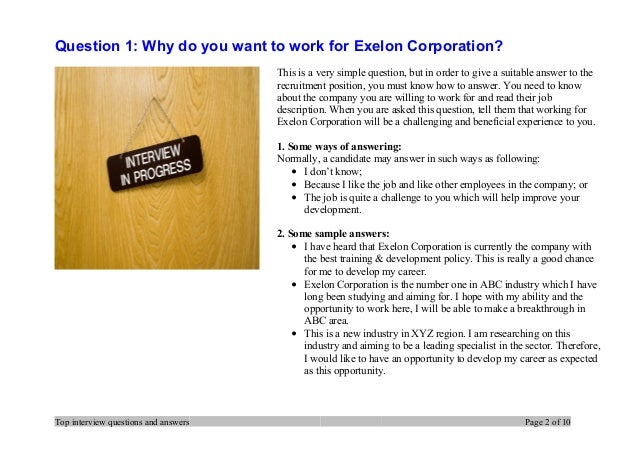 Exelon interview questions