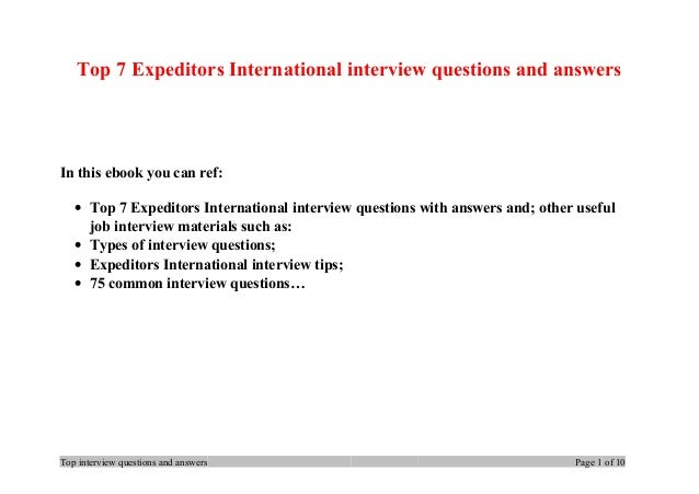 top 7 expeditors international interview questions and answers