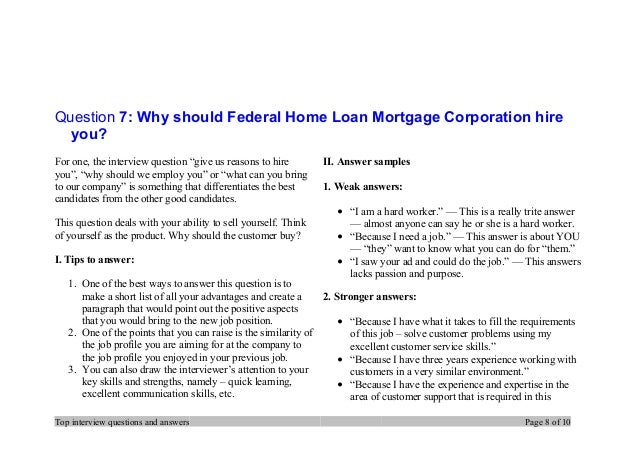 Top 7 federal home loan mortgage corporation interview questions and …