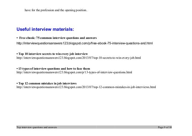 Delightful Top Interview Questions And Answers Page 8 Of 10; 9. Have For ...