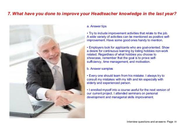 Top 7 headteacher interview questions answers