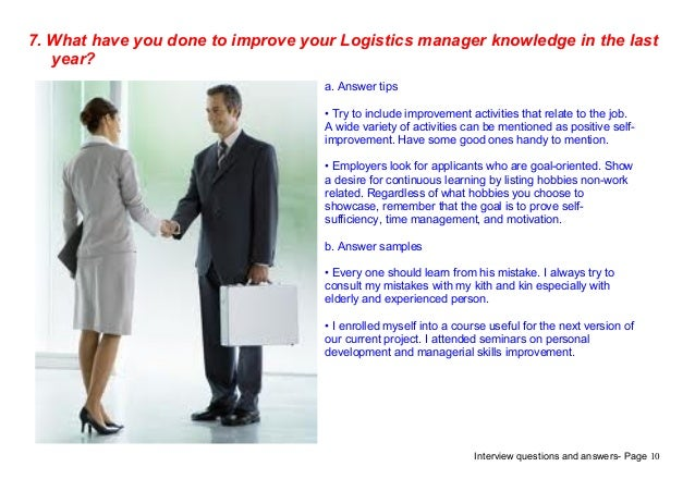 logistics manager interview questions and answers pdf