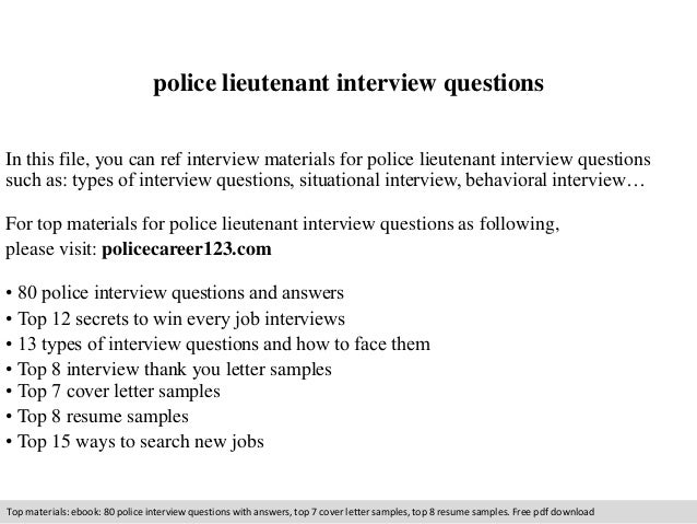 Top 9 police lieutenant interview questions answers