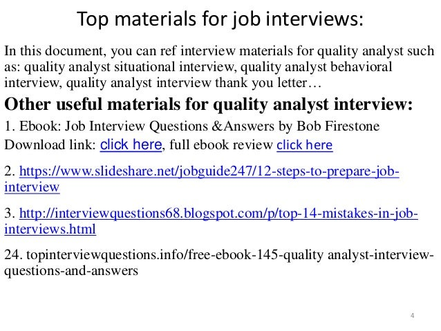 quality analyst interview 4 top materials for job