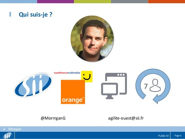 Page 6Public SII  Morgan Qui suis-je ? 7 @MorrrganG agilite-ouest@sii.fr