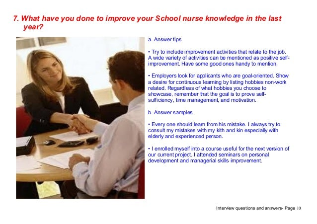 Top 7 school nurse interview questions answers