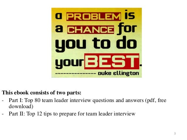 80 team leader interview questions and answers