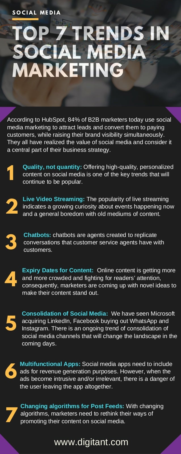 TOP 7 TRENDS IN SOCIAL MEDIA MARKETING According to HubSpot, 84% of B2B marketers today use social media marketing to attr...