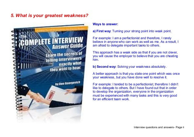 interview questions and answers page 85 what is your greatest weakness - What Are Your Weaknesses Interview Questions And Best Answers