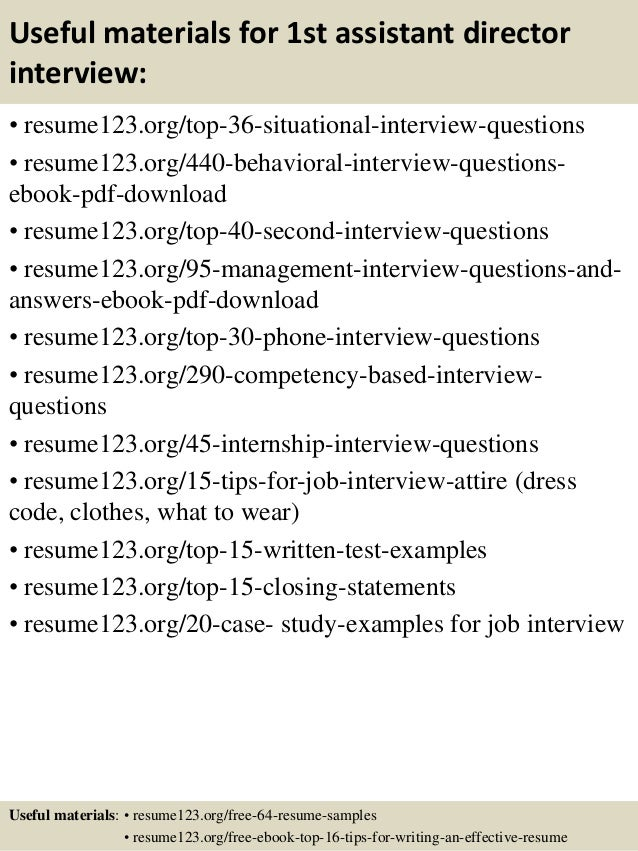 top 8 1st assistant director resume samples