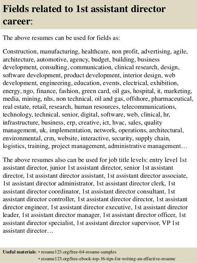 Top 8 1st assistant director resume samples