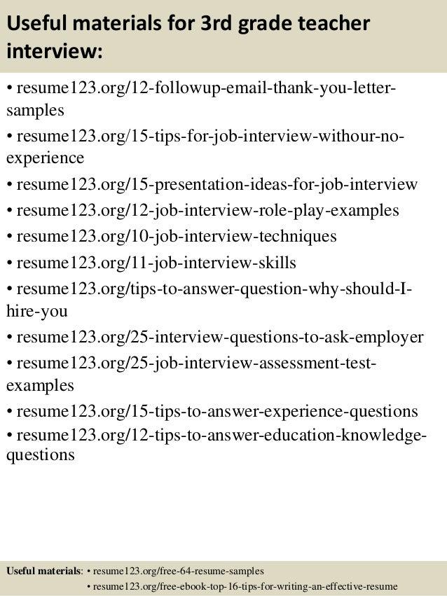 Top 8 3rd Grade Teacher Resume Samples