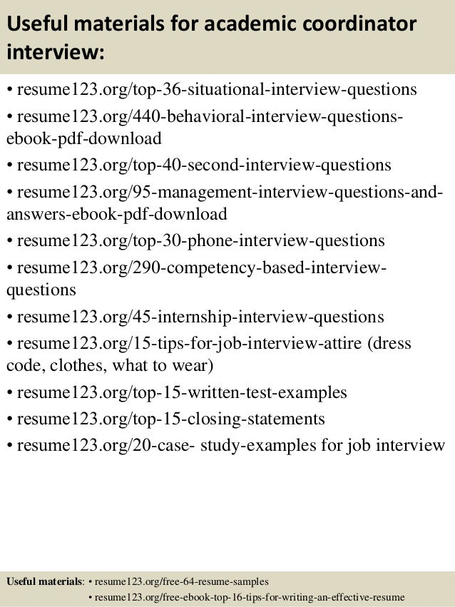 Top  Academic Coordinator Resume Samples