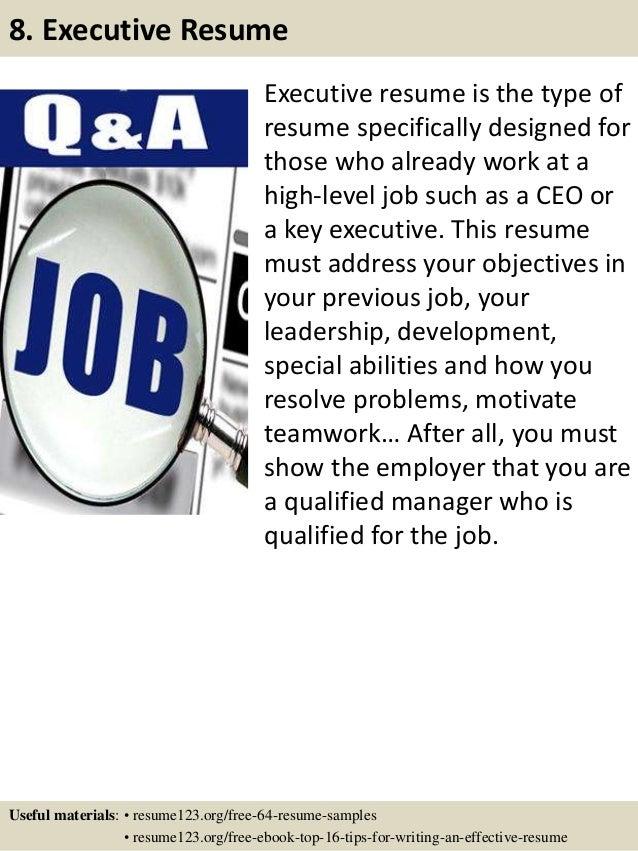 ... 11. Executive Resume ...