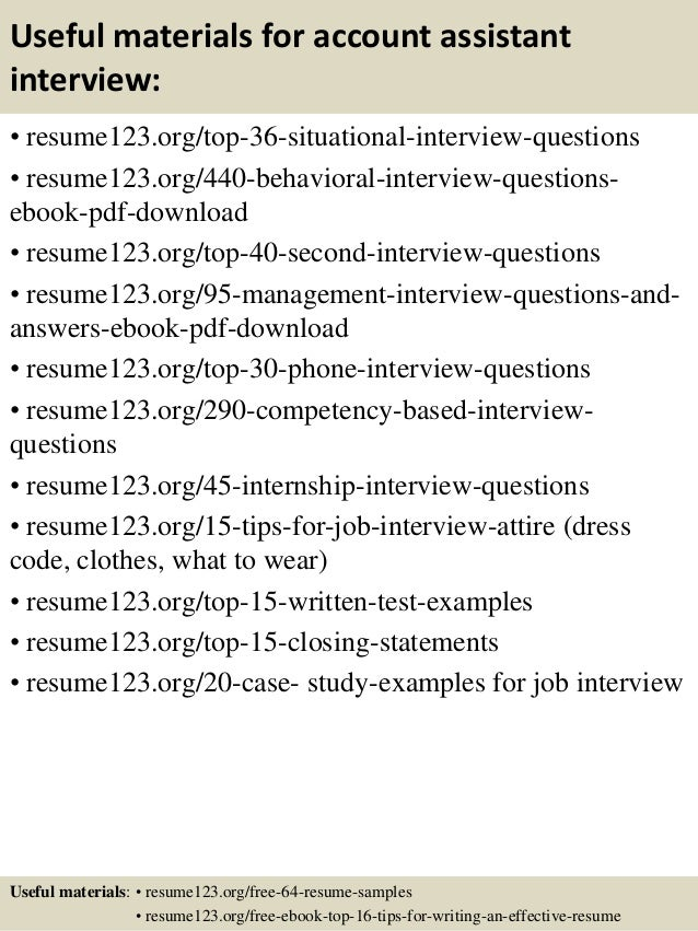 12 useful materials for account assistant - Accounts Assistant Sample Resume