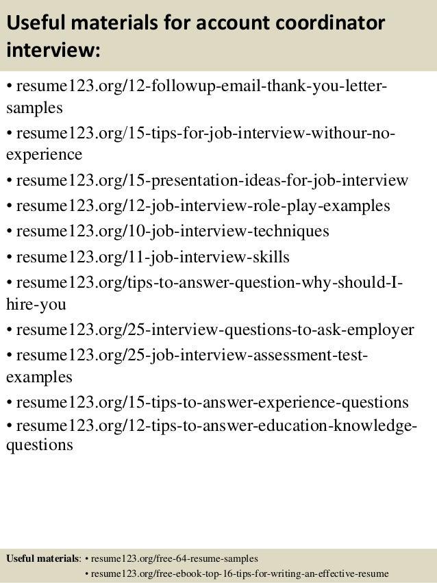 Top 8 account coordinator resume samples