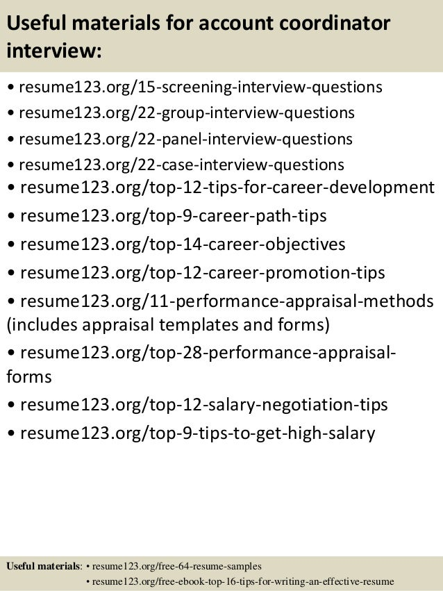 top 8 account coordinator resume samples