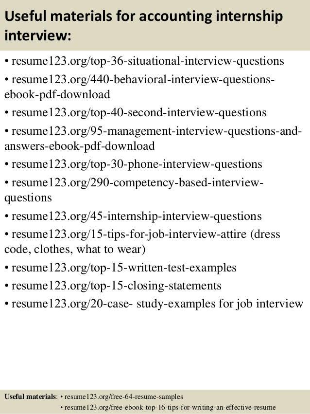 12 useful materials for accounting internship - Accounting Internship Resume Sample
