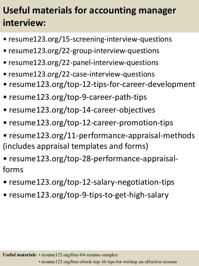accounting manager sample resumes