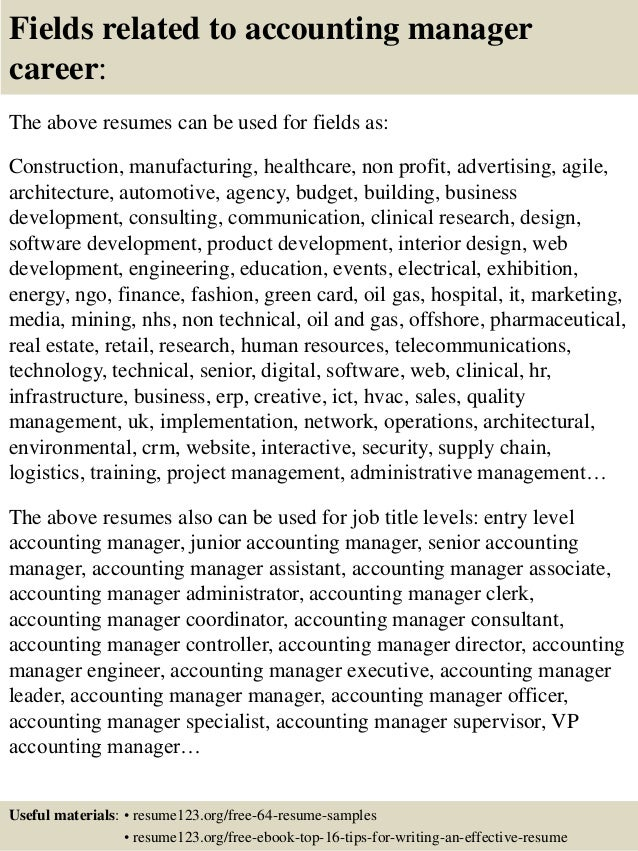 ... 16. Fields Related To Accounting Manager ...  Accounting Manager Resume Examples