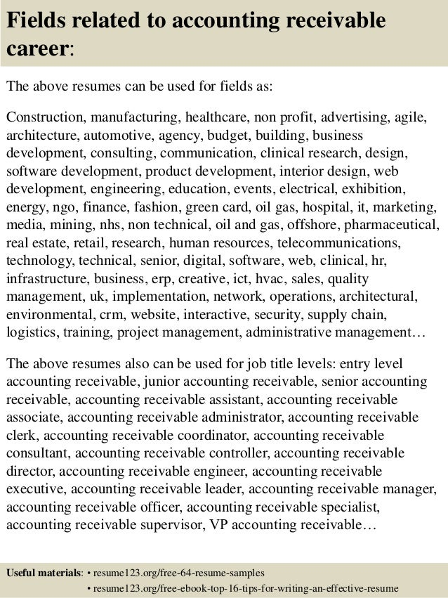 16 fields related to accounting receivable - Accounts Receivable Resume Samples