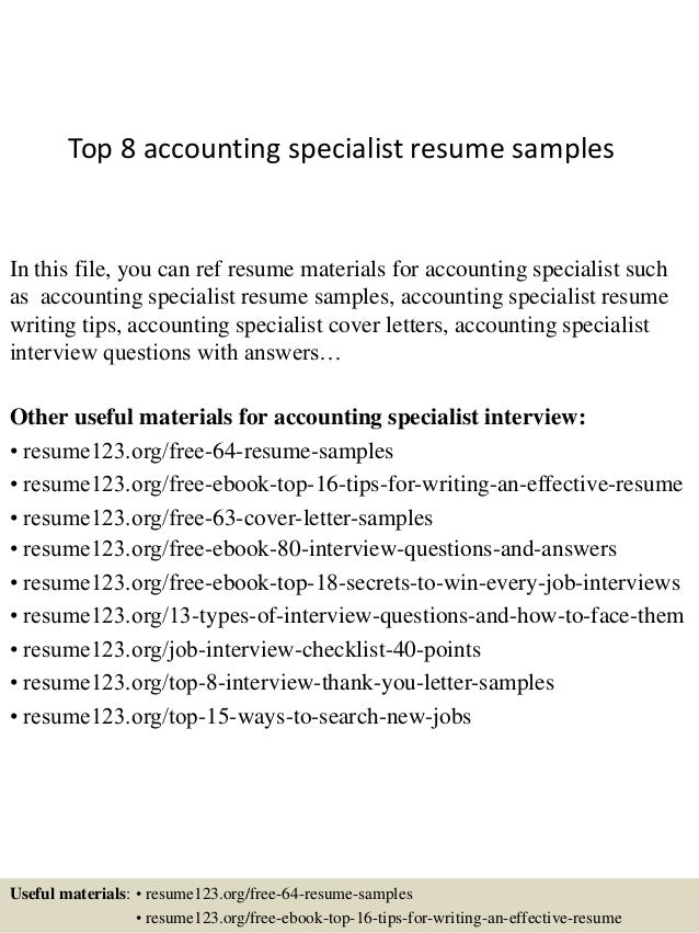 top 8 accounting specialist resume samples 1 638 jpg cb 1427855796