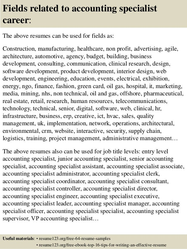 ... 16. Fields related to accounting specialist ...