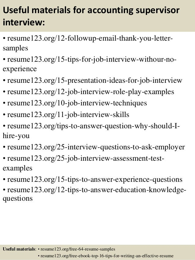 ... 14. Useful Materials For Accounting Supervisor ...  Accounting Supervisor Resume