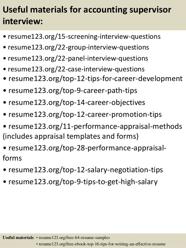 ... 15. Useful Materials For Accounting Supervisor ...  Accounting Supervisor Resume