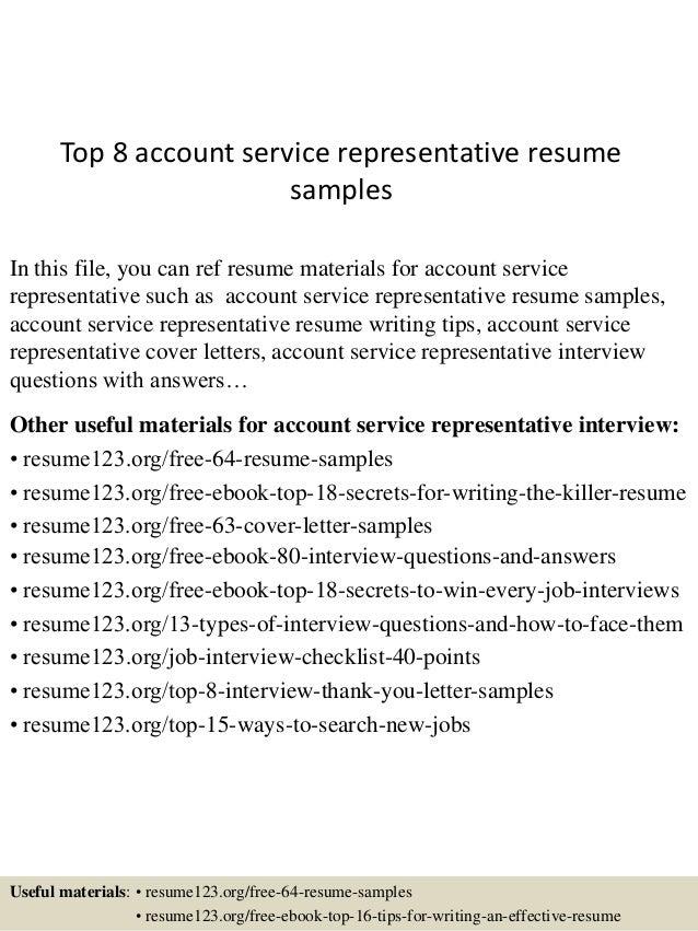 account service representative sample resume unforgettable