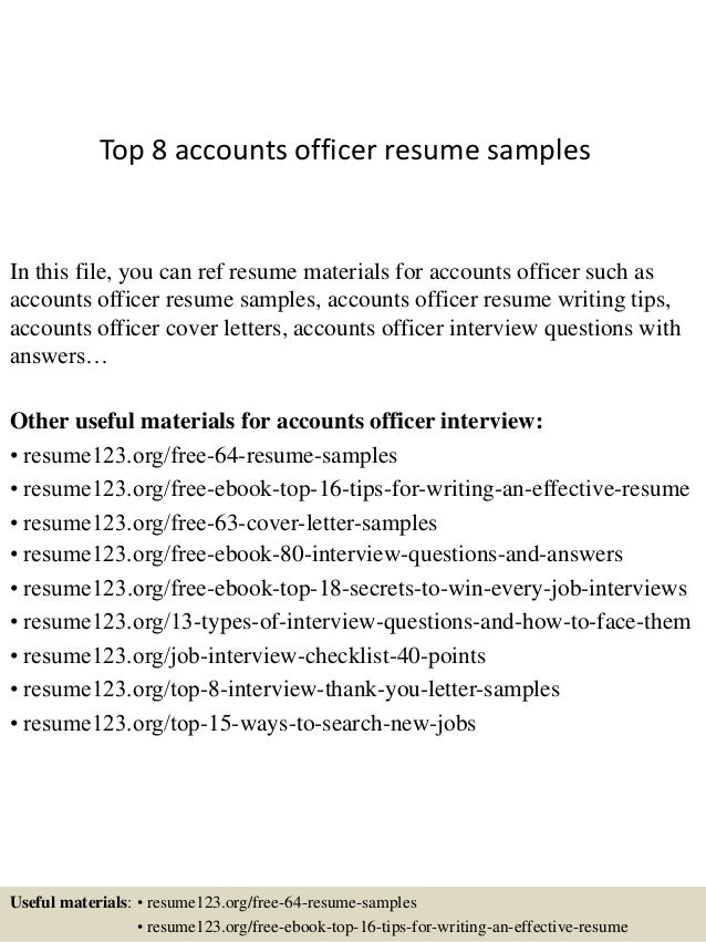 top 8 accounts officer resume samples in this file you can ref resume materials for - Accounts Resume Sample