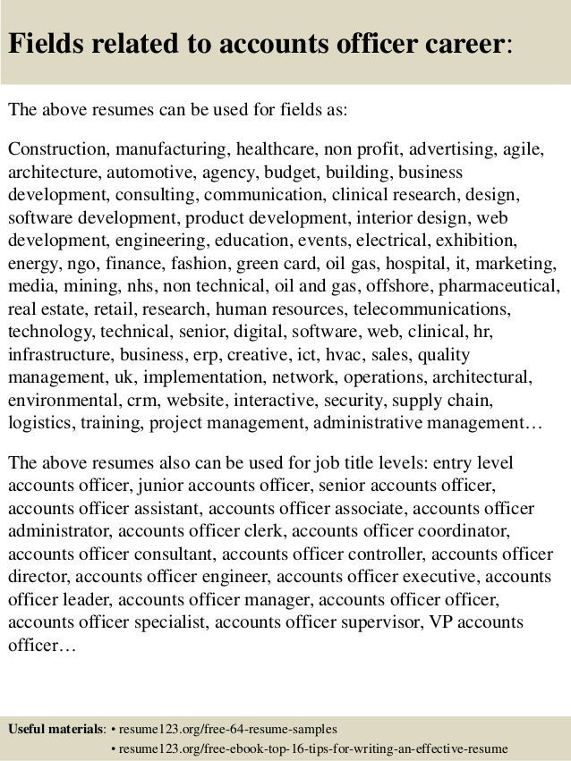 Top 8 accounts officer resume samples
