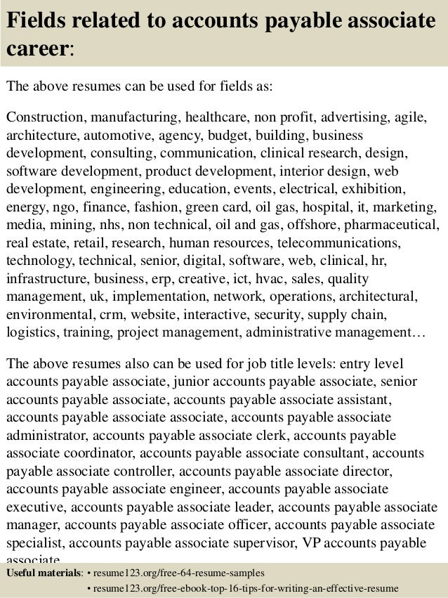 accounts payable associate resume samples index account payable associate cover letter