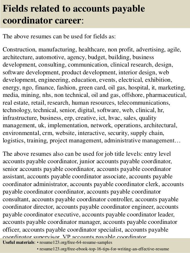 top 8 accounts payable coordinator resume sles