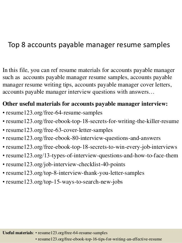 Top 8 Accounts Payable Manager Resume Samples In This File, You Can Ref  Resume Materials ...  Accounts Payable Manager Resume