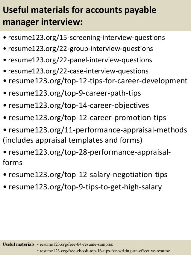 ... 15. Useful Materials For Accounts Payable Manager ...  Accounts Payable Manager Resume