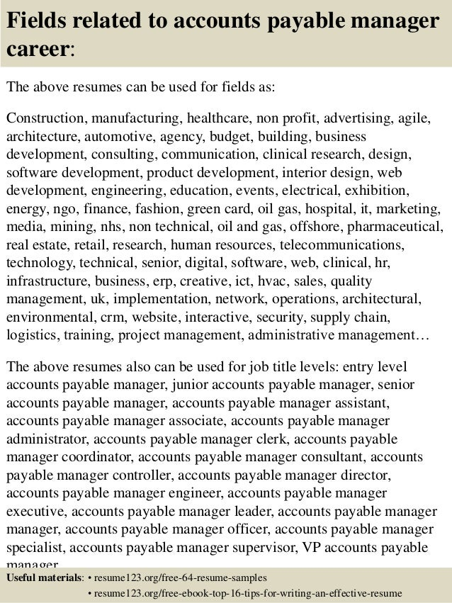16 Fields Related To Accounts Payable Manager Career The Above Resumes