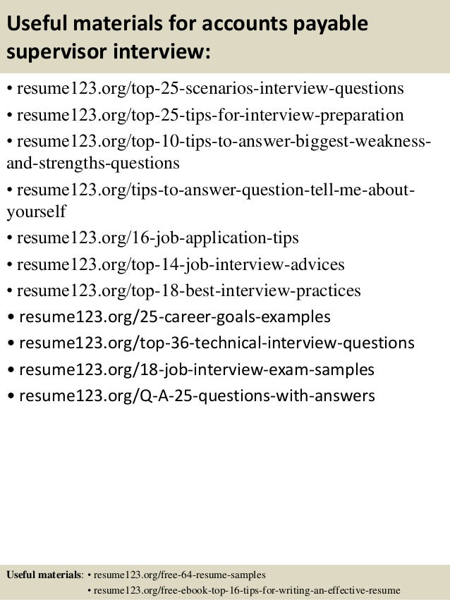 Top 8 accounts payable supervisor resume samples